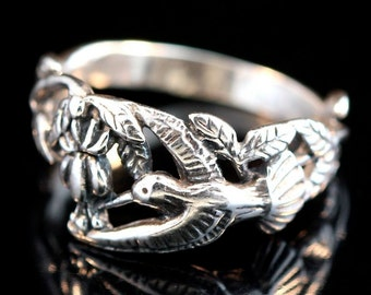 Hummingbird Ring Silver Bird Ring Bird Jewelry Hummingbird Jewelry Flower Ring Flower Jewelry Floral Jewelry Silver Ring