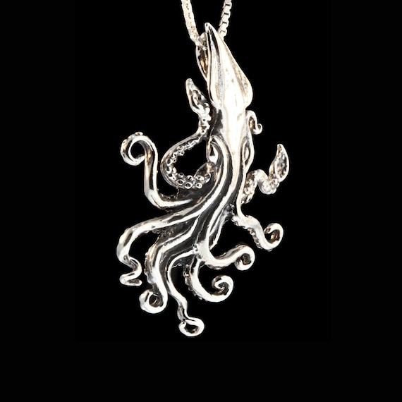 Sterling Silver 925 Pendant Necklace Attack of Giant Squid Octopus Pirate Ship