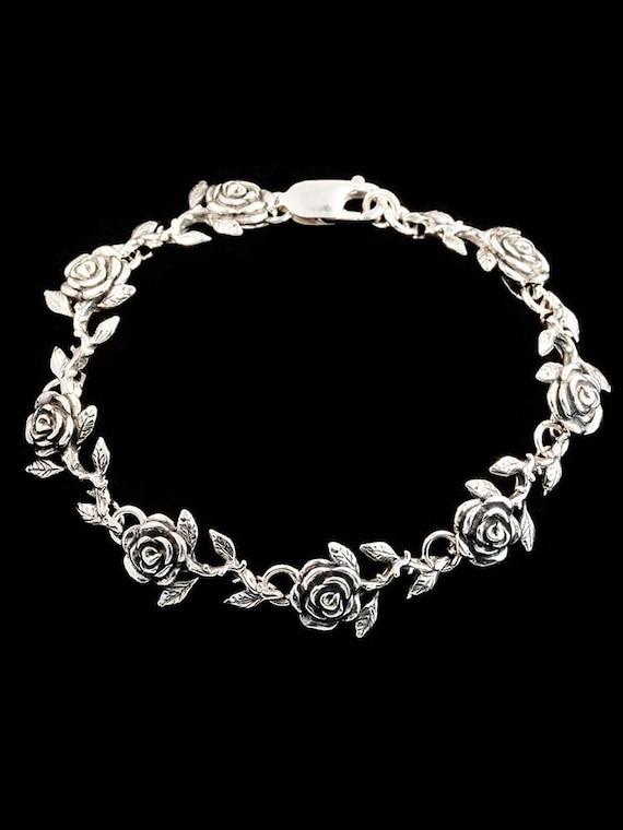 Rose Bracelet Antique Stieff Sterling 1892 Rose Bracelet Antique Sterling Silver Spoon Bracelet Silver Floral Bracelet for Women B7395