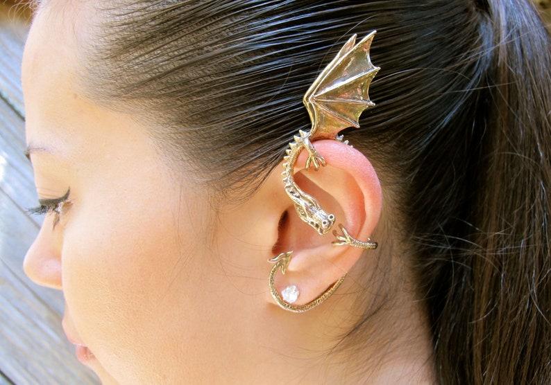 83f614de0 Dragon Ear Wrap Dragon Ear Cuff Elfin Dragon Bronze Wrap | Etsy