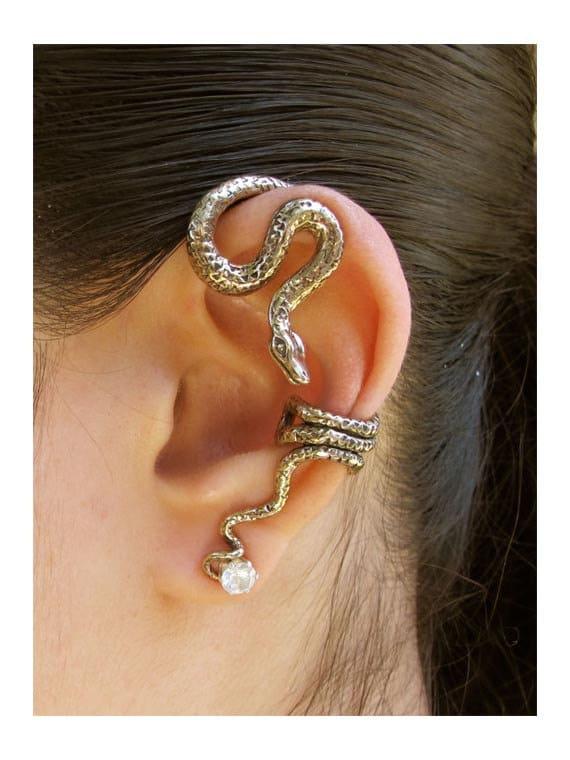 SALE Dark green snake ear cuff with black eyes