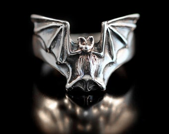 Bat Ring Silver - Bat Flight Ring - Bat Jewelry Silver Bat - Halloween Jewelry Halloween Ring - Gothic Ring Gothic Jewelry - Vampire