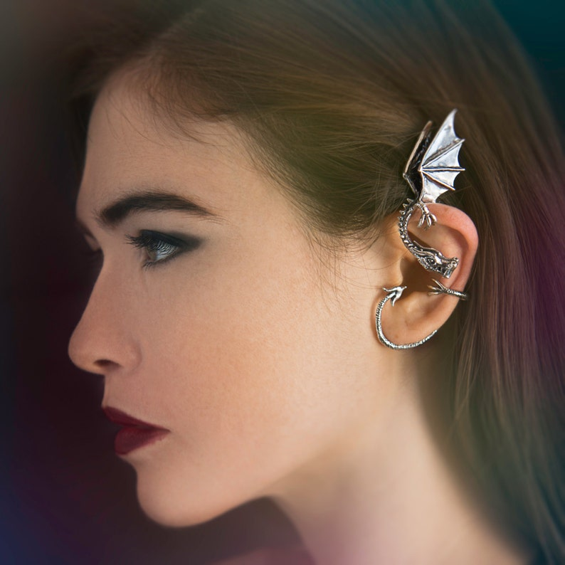 Dragon Ear Wrap Inspired Game of Thrones Jewelry Silver image 0
