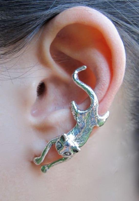 Silver Ear Cuff Cat Ear Cuff Cat Earring Cat Jewelry Etsy