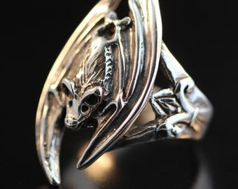 Bat Ring Bat Wing Silver Gothic Bat Ring Bat Jewelry Silver Bat Gothic Jewelry Gothic Ring Wing Ring Wing Jewelry Bat Art Silver Ring Gothic