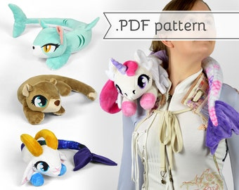 Neck Mer-animals Plush Sewing Pattern .pdf Tutorial Posable Wearable Shoulder Accessory Pony Otter Kitty Bunny
