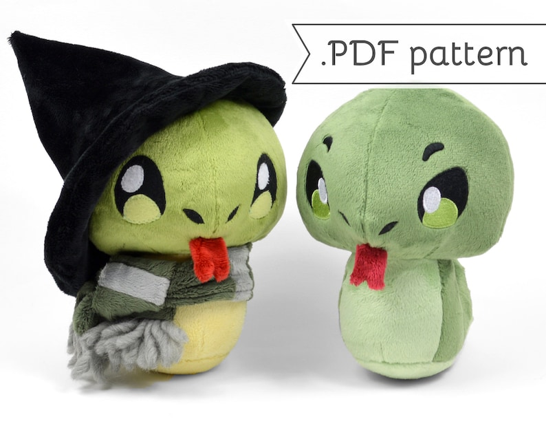 Snake Plush with Scarf & Witch Hat Sewing Pattern .pdf image 0