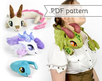 Neck Dragon Plush Sewing Pattern .pdf Tutorial Posable Wearable Shoulder Accessory Eastern Snake