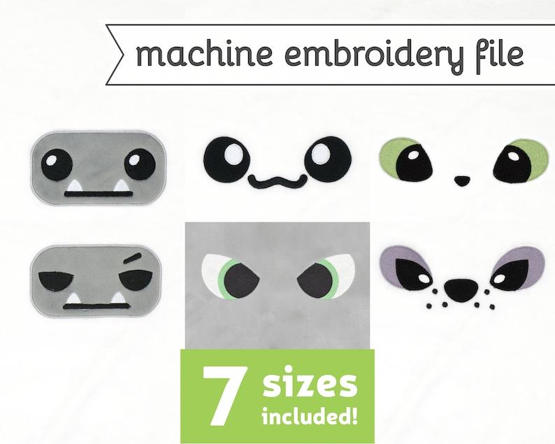 Cryptid Plush Eyes Machine Embroidery File Design Bundle for image 0