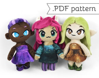 Chibi Human Doll Plush Sewing Pattern .pdf Tutorial with Removable Casual Clothes