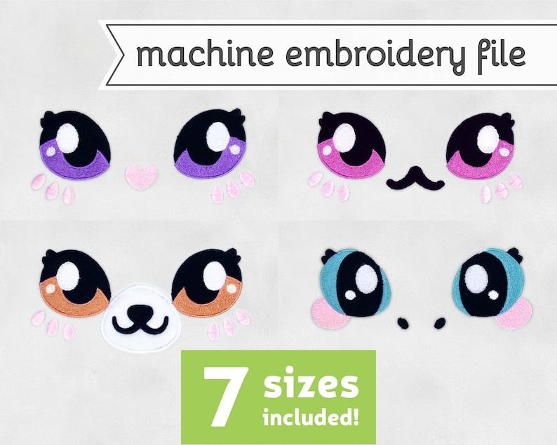 Sweet Animal Eyes 2 Machine Embroidery File Fox Cat Unicorn image 0