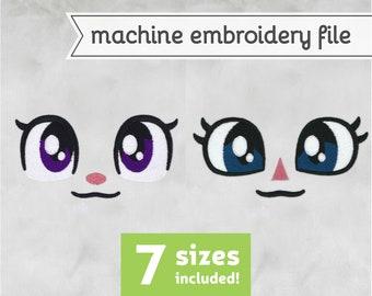 Basic Eyes Machine Embroidery File Design for Plush 7 Sizes
