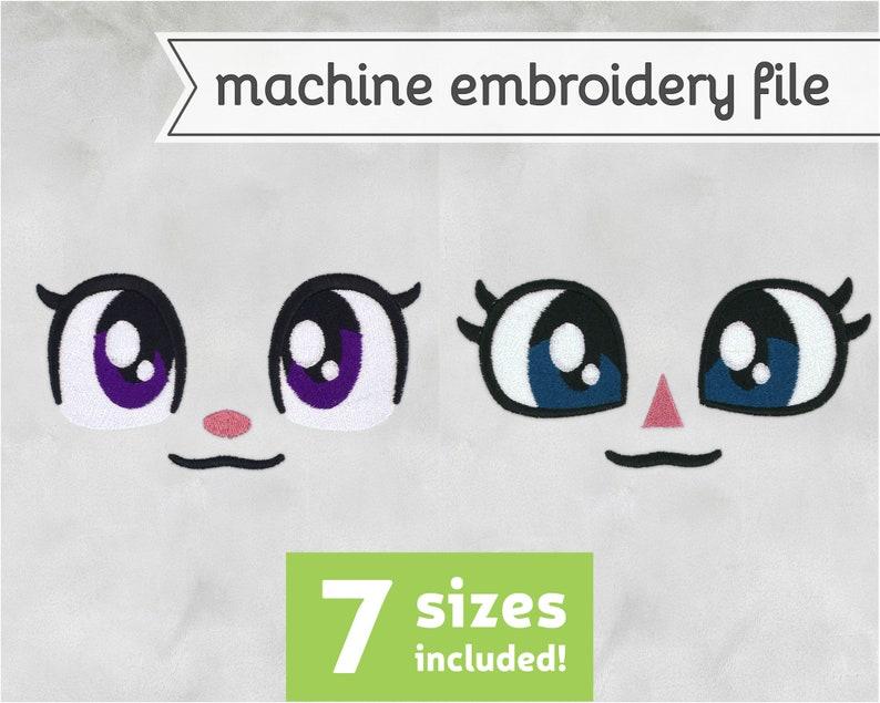 Basic Eyes Machine Embroidery File Design for Plush 7 Sizes image 0