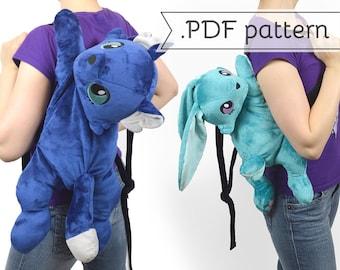 Plush Backpack Sewing Pattern .pdf Tutorial Stuffed Animal Cat Fox Rabbit Bunny Kitty