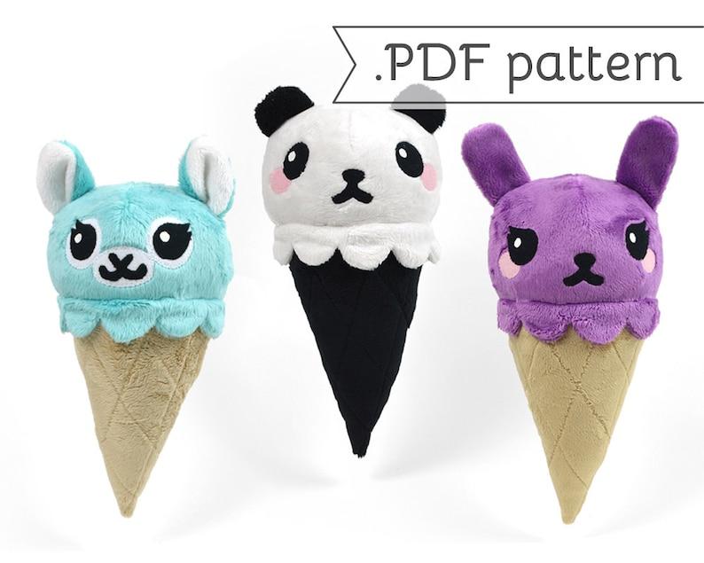 Animal Ice Cream Cone Plush .pdf Sewing Pattern Panda Fox image 0