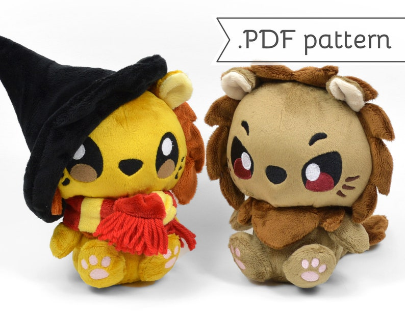 Lion Plush with Scarf & Witch Hat Sewing Pattern .pdf Tutorial image 0