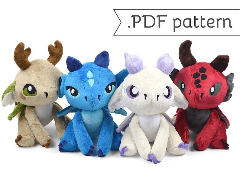 Floppy Dragon Plush Sewing Pattern .pdf Tutorial Elemental image 0