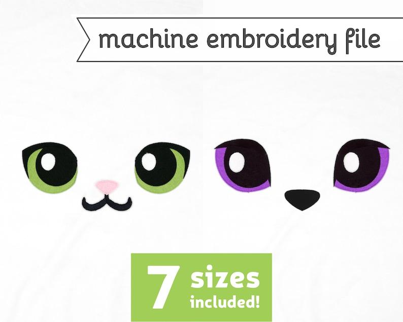 Cat Eyes Machine Embroidery File Design for Plush 7 Sizes image 0