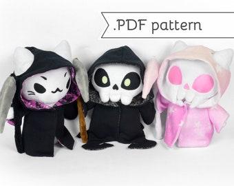 Grim Reaper Chubby Plush Sewing Pattern .pdf plus bonus Expansion Pack