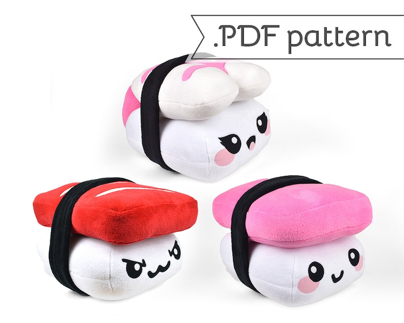 Sushi Pillow Plush Sewing Pattern Nigiri .pdf Tutorial image 0