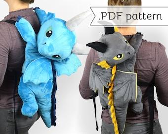 Dragon Plush Backpack Sewing Pattern .pdf Tutorial Stuffed Animal