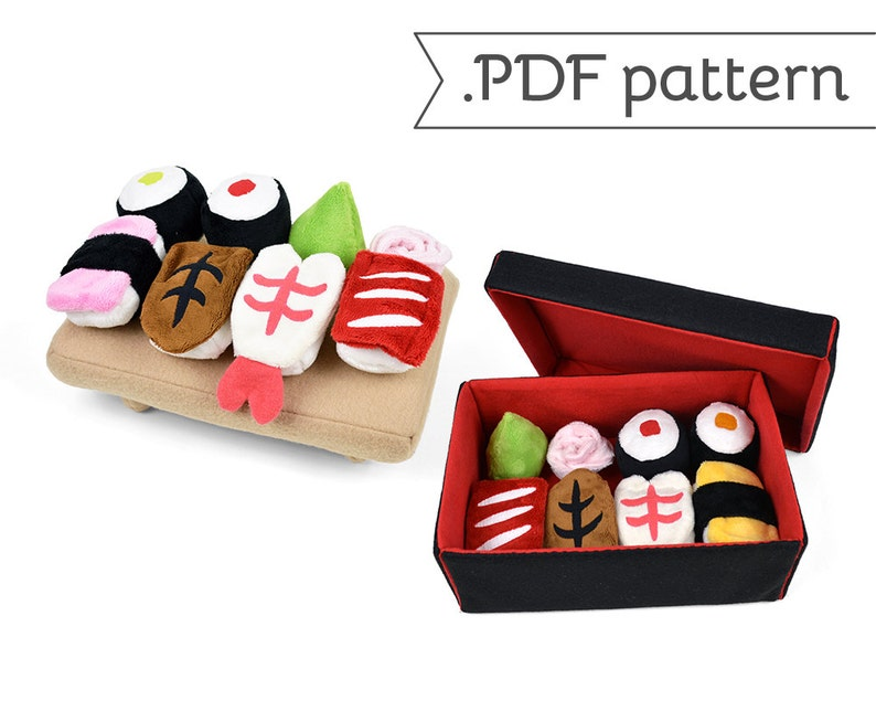 Mini Sushi Plush Sewing Pattern Collection with Bento Box and image 0