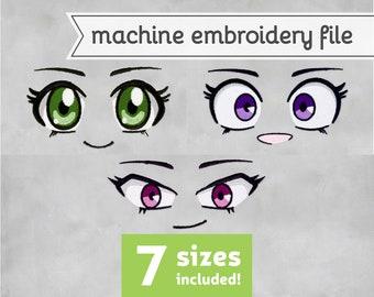 Anime Eyes Machine Embroidery File Design for Plush 7 Sizes
