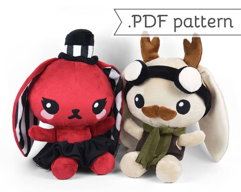 df4a4ba5af836 Chibi Steampunk Animal Plush Sewing Pattern .pdf Tutorial Rabbit Panda Fox  Wolf Cat Jackalope