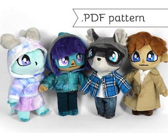 Doll Clothing Essentials Expansion Sewing Pattern .pdf Tutorial T-shirt Hoodie Leggings Coat