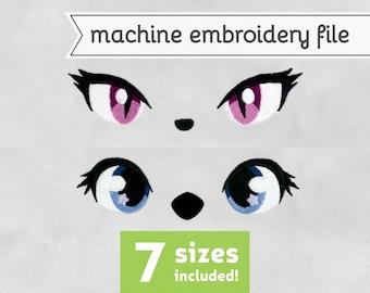 Animal Eyes Machine Embroidery File Design for Plush 7 Sizes