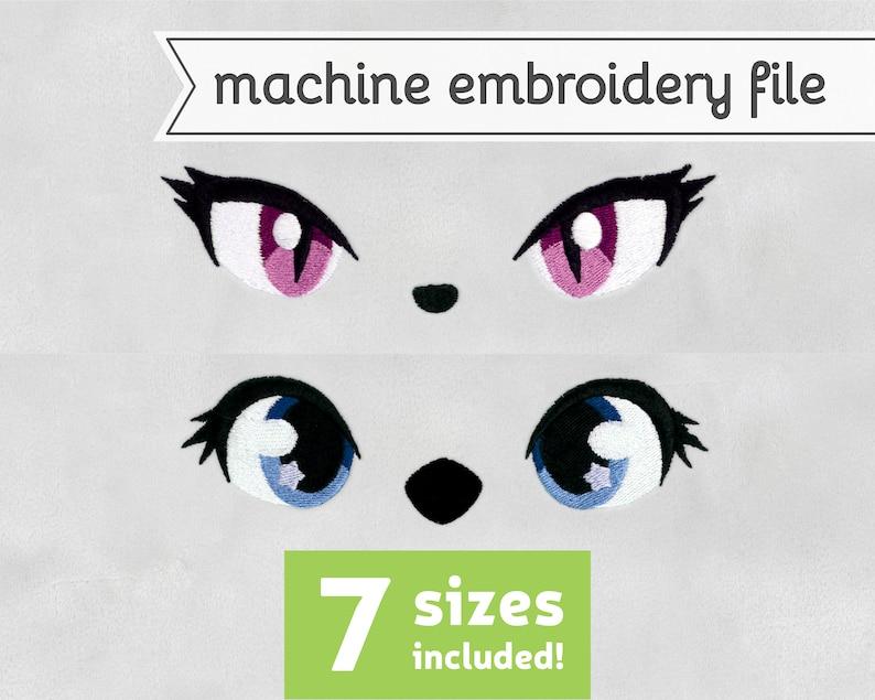 Animal Eyes Machine Embroidery File Design for Plush 7 Sizes image 0