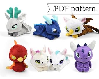 Fairy Tale Sewing Plush .pdf Pattern Bundle Phoenix Unicorn Stag Dragon Pegasus Kelpie Griffin