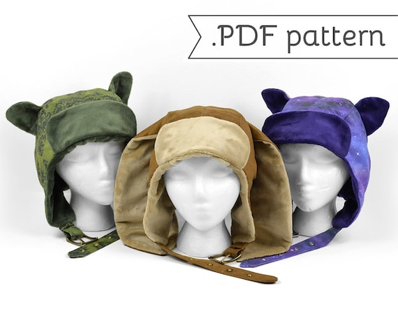 Steampunk Aviator Cap Sewing Pattern Pdf Cat Fox Deer Rabbit Etsy
