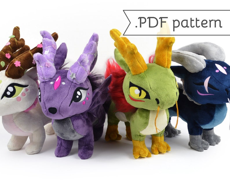 Long Dragon Chibi Plush Sewing Pattern .pdf Tutorial Chinese image 0