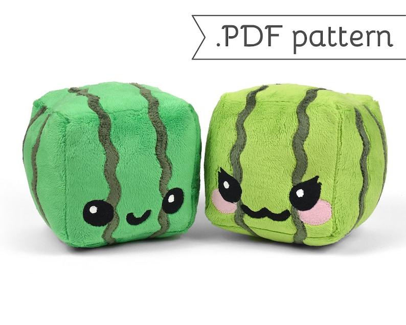 Cube Watermelon Plush .pdf Sewing Pattern image 0