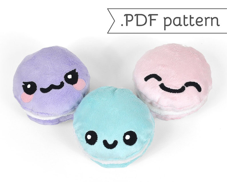 Cookie Sandwich Plush .pdf Sewing Pattern Macaron Oreo Whoopie image 0