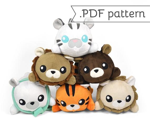 Stacking Lion Tiger Bear Plush Sewing Pattern Pdf Tutorial Etsy