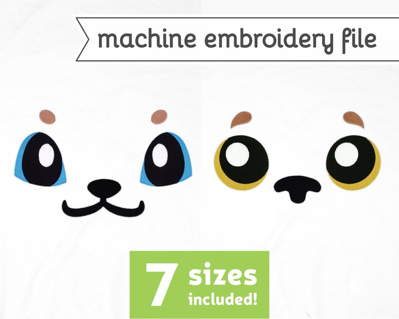 Puppy Eyes Machine Embroidery File Design for Plush 7 Sizes image 0