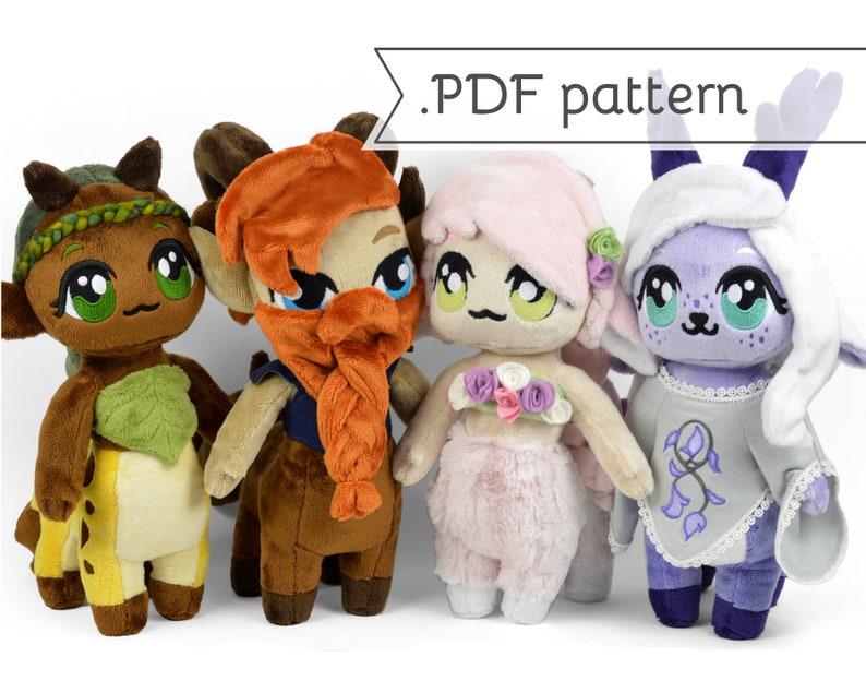 Chibi Centaur Doll Plush Sewing Pattern .pdf Tutorial Horse image 0