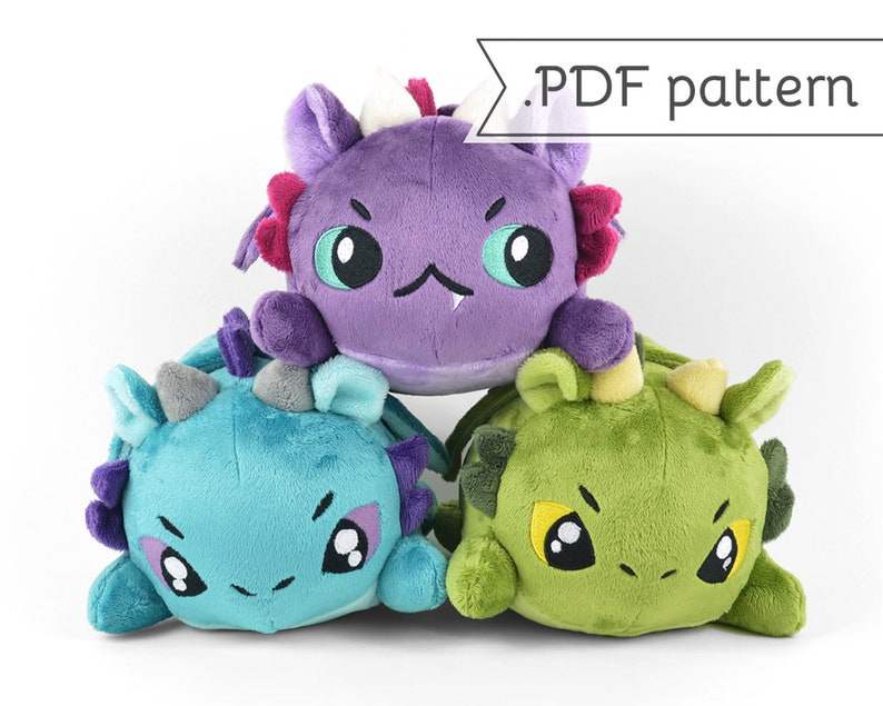 Stacking Dragon Plush Sewing Pattern .pdf Tutorial image 0