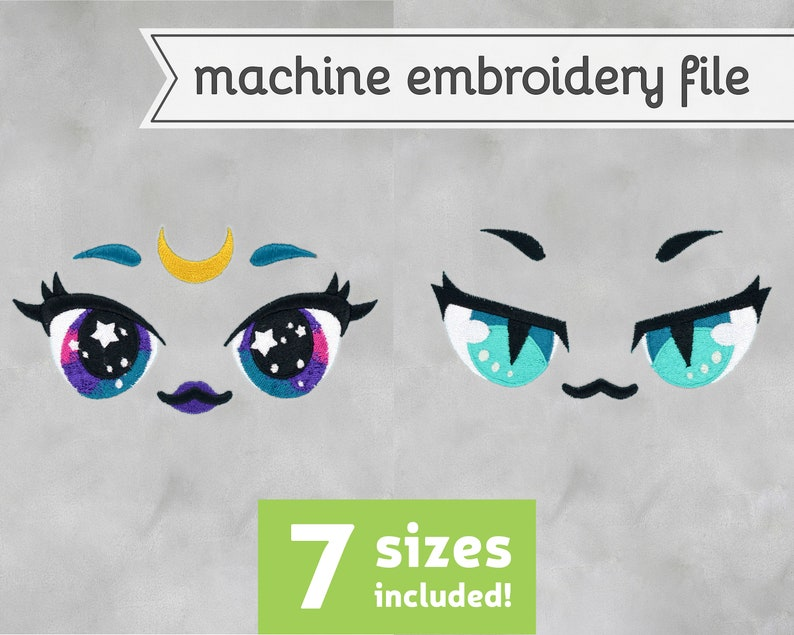 Witch Eyes Machine Embroidery File Design for Plush 7 Sizes image 0