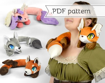 Woodland Animals Neck Plush Sewing Pattern .pdf Tutorial Posable Wearable Shoulder Accessory Fox Kitty Wolf Red Panda