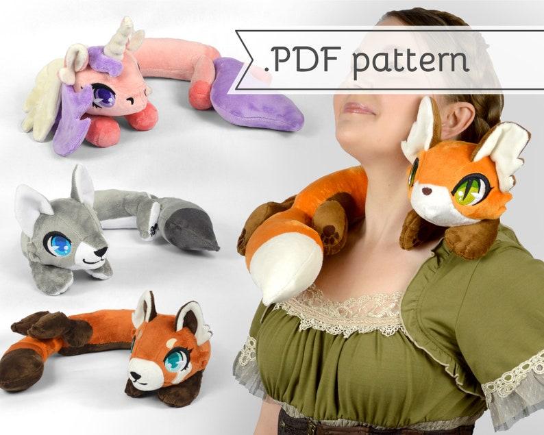 Woodland Animals Neck Plush Sewing Pattern .pdf Tutorial image 0