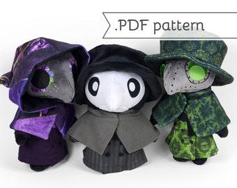 Plague Doctor Plush Sewing Pattern .pdf plus bonus Expansion Pack for Dolls Mask