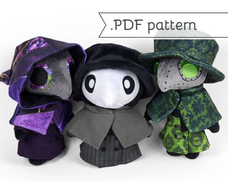 Plague Doctor Plush Sewing Pattern .pdf plus bonus Expansion image 0