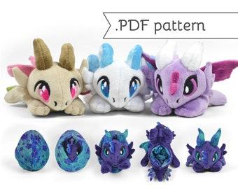 Reversible Dragon Plush Sewing Pattern .pdf Tutorial Chibi Egg Flip