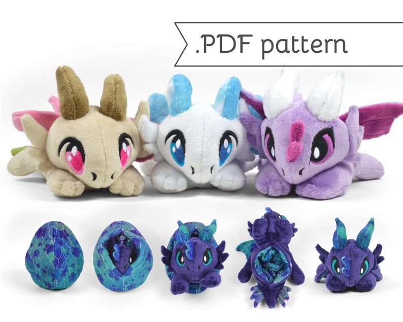 Reversible Dragon Plush Sewing Pattern .pdf Tutorial Chibi Egg image 0