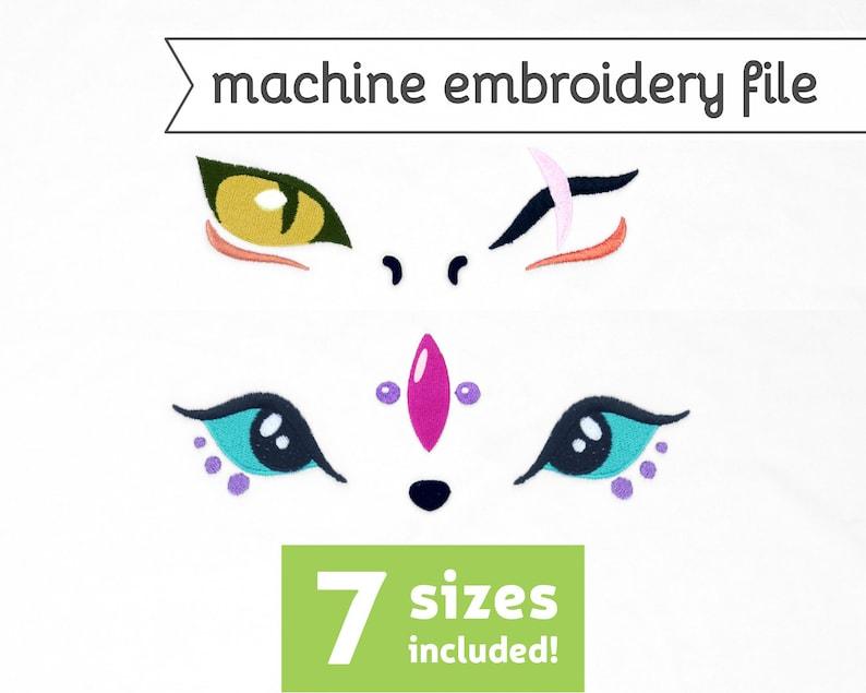 Dragon Eyes Machine Embroidery File Design for Plush 7 Sizes image 0