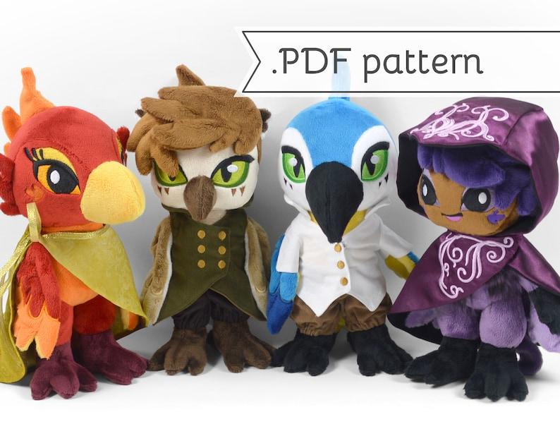 Anthro Bird & Harpy Doll Plush Sewing Pattern .pdf Tutorial image 0