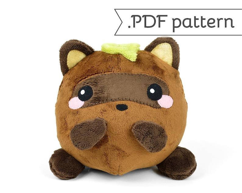 Tanuki Japanese Raccoon Dog Sewing .pdf Pattern Plush image 0